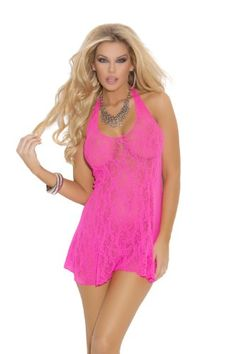 a64b42c00c3a6 Look at this Elegant Moments Neon Pink Lace Halter Chemise - Women   Plus  on today!