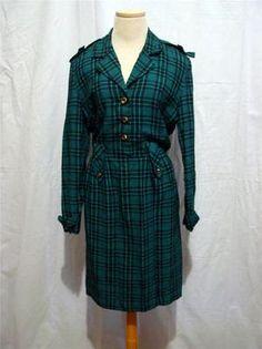 RETRO RAG Vintage 80s green/black RAYON PLAID epaulet OFFICE DRESS 5 S