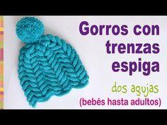 Gorros con borde ancho y flores tejidos a 2 agujas - Tejiendo Perú - YouTube