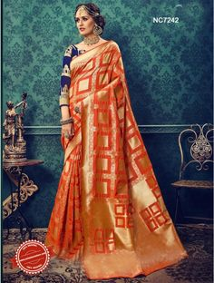 Orange Cotton Silk Saree   Call / WhatsApp / Viber : +91-9052526627   Free Shipping in India   COD*   Worldwide Shipping