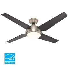 "View the Hunter Sonic 52"" Energy Star Rated Indoor Ceiling Fan - 4 Reversible Blades, Light Kit, and Remote Control Included at Build.com."
