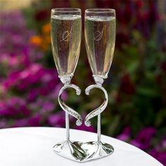 Unique Toasting Glasses | Personalized Wedding Toasting Flutes Linked Hearts Rhinestone ...
