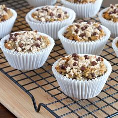 An amazing banana chocolate chip muffin with cinnamon streusel that is gluten, dairy and grain free.