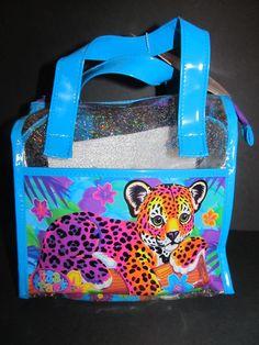 Vintage Lisa Frank Purse Hunter Leopard Handbag Tote Vinyl Glitter Activity Bag #LisaFrank #HandbagPurse