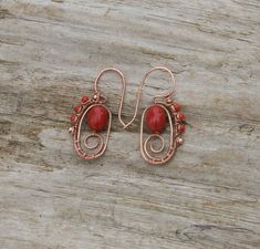 Red Coral Stone Glass Earrings Wire Wrapped Oxidized Copper Forged Metal Spiral Hoops Handcrafted Wire Woven Jewelry