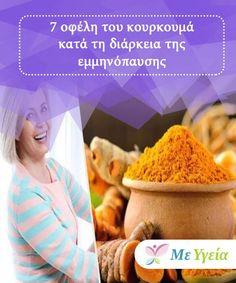 7 οφέλη του κουρκουμά κατά τη διάρκεια της εμμηνόπαυσης  Ο κουρκουμάς δεν βοηθά μόνο στην καταπολέμηση των φυσικών επιπτώσεων κατά τη διάρκεια της εμμηνόπαυσης και μετά την εμμηνόπαυση, αλλά βοηθά και στη βελτίωση της διάθεσής μας. Health Fitness, Hair Beauty, Ios, Per Diem, Health And Fitness