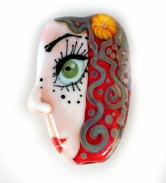 Artisan glass bead, Lampwork glass bead, handmade glass focal bead, glass focal bead, Face focal bead, Face bead, eye bead by GlassAfternoon on Etsy