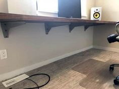 9 Desk Ideas Perfect for Small Spaces Gorgeous prepac floating desk with storage w Diy Office Desk, Office Lounge, Guest Room Office, Diy Desk, Home Office Furniture, Furniture Nyc, Small Office, Cheap Furniture, Home Office Design