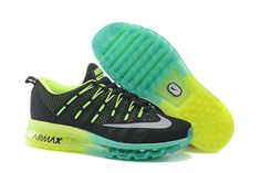 2016 Men's Nike Flyknit Air Max Running Shoes back gray green yellow