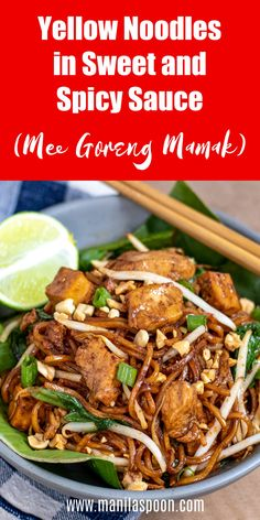 Sweet, spicy, savory and so flavorful, this Malaysian yellow noodles stir-fry (mee goreng mamak) will blow your tastebuds away! Spicy Recipes, Asian Recipes, Vegetarian Recipes, Chicken Recipes, Cooking Recipes, Oriental Recipes, Noodle Recipes, Delicious Recipes, Mee Goreng Mamak