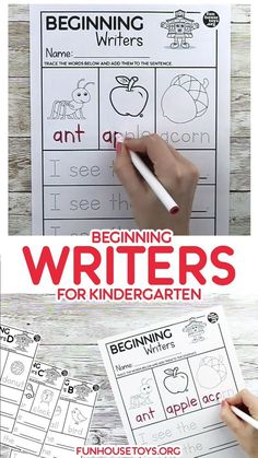 Simple Beginning Writer Worksheets for Kindergarten - Our Beginning Writer Worksheets are a great way to start teaching your child about building words a - Kindergarten Writing Activities, Free Kindergarten Worksheets, Phonics Worksheets, Homeschool Kindergarten, Teaching Writing, Writing Skills, Lkg Worksheets, Grade 1 Worksheets, Kindergarten Preparation