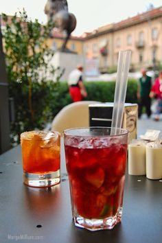 """Learn about """"aperitivo,"""" a favorite Italian ritual. This pic from Piazza Savona in Alba shows a Spritz and an Americano."""
