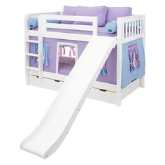 Smile Girl Twin over Twin Slat Tent Bunk Bed Purple and Light Blue and Pink Tent American Girl Doll Room, American Girl Furniture, Girls Furniture, Barbie Furniture, Low Bunk Beds, Girls Bunk Beds, Bunk Bed With Trundle, Kid Beds, Bunk Bed With Slide