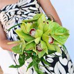 bukiet ślubny: storczyk Cymbidium, anturium
