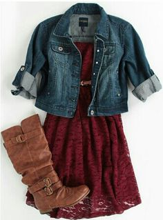 red dress + denim jacket + brown boots...add some leggings for warmth and it's the perfect fall outfit!