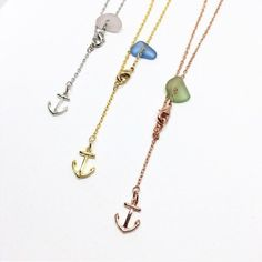 Genuine Rare Sea Glass Anklets in 16k plated White, Yellow and Rose Gold with Anchor Charms