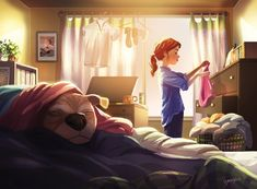 Dog Grooming Illustration Snuggly Afternoon an art print by Yaoyao Ma Van As - INPRNT.Dog Grooming Illustration Snuggly Afternoon an art print by Yaoyao Ma Van As - INPRNT Dog Breed Names, Best Dog Breeds, Little Dog Names, Living With Dogs, Rick Y Morty, Me And My Dog, Photo Images, Best Dog Training, Dog Illustration