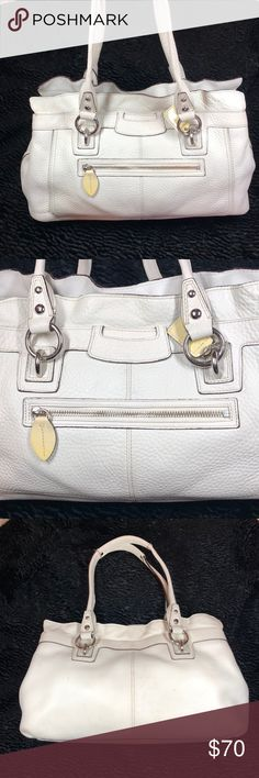 68f9dfa811ee Coach cream off white tote Off white leather Coach bag. It was gently used