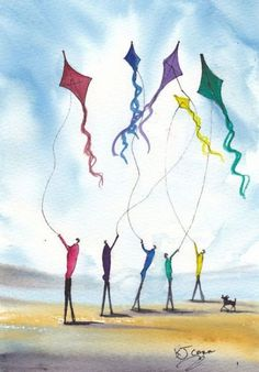 """Five Kites"" by KJ Karr Go Fly A Kite, Kite Flying, Art Themes, Kites, She Likes, Art Portfolio, Art Forms, Rainbow Colors, Artsy"