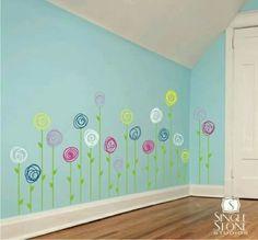 Summer Bulletin Boards For Daycare Discover Nursery Flower Wall Decals Doodle Flower Garden - Vinyl Nursery Wall Stickers Art Custom Home Decor