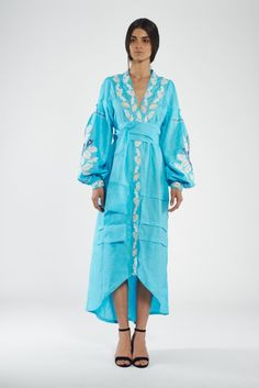 Light blue linen caftan with  embroidery yellow stripe and different colors edentree на кнопках посом