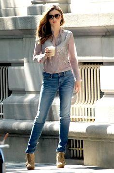 Miranda Kerr,Rocking a Chiffon sequin Shirt and Skinny Leg Jeans simple yet effective.