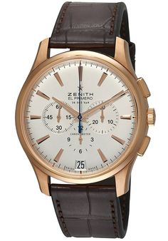 Zenith 182110400.01C Watches,Men's El Primero Automatic Chronograph Brown Leather Silver-Tone Dial, Dress Zenith Automatic Watches