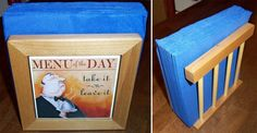 Wooden napkin holder with personalized tile by KatesCoasters, $20.00