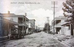 Old Picture Of Rail Road Avenue,  Main Street in Donaldsonville, La.