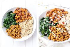 Chickpea, Spinach & Sweet Potato Brown Rice Bowl