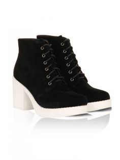 Black Suede White Rubber Sole Chunky Block Heel Ankle Boots