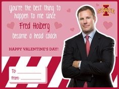 Cyclone themed Valentine's Day Cards. Iowa State's Fred Hoiberg.
