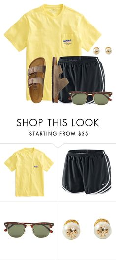 """Turn down for what!"" by flroasburn ❤ liked on Polyvore featuring NIKE, Ray-Ban, Tory Burch and TravelSmith"