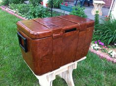 Our Cooler Cooler: How We Turned a Boring, Mundane Cooler Into an Old Treasure Chest - Pennsic - camping chest cooler decoupage medieval pennsic sca trunk - Honor Before Victory