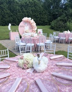 My Little Angel Decorations 's Baby Shower / Swan - Photo Gallery at Catch My Party Baby Shower Venues, Baby Girl Shower Themes, Baby Shower Princess, Pink Princess, Shower Party, Baby Shower Parties, Shower Favors, Shower Invitations, Baby Shower Centerpieces