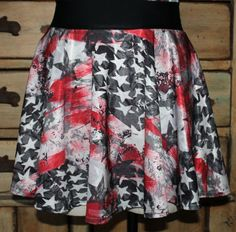 Running circle skirt red white blue stars stripes by suestevepat