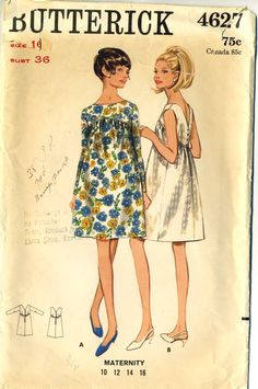 """Butterick 4627; ca. 1967; Misses' One-Piece Maternity Dress. Full dress is gathered onto high shaped yoke with front oval neckline. Back V-neckline has button and zipper closing. Sleeveless or full length sleeves. Topstitch trim. Add a photo to the gallery by clicking the """"modify"""" button below."""