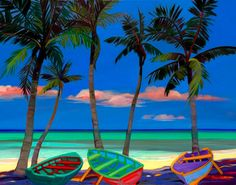 Caribbean Art + lots of tropical, foliage, island life paintings to choose from for the beach cottage + coastal decor home + colorful and bright! Caribbean Decor, Arte Popular, Beach Scenes, Beach Art, Beach Mural, Beach Cottages, Island Life, Painting Inspiration, Wall Art
