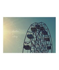 'Adventure Is Waiting' Art Print by Epic Art on #zulily #zulilyfind #zulilyfinds #print #illustration #picture #photo #photograph #photography #lomo #lomography #analog #camera #quote #inspiration #art #canvas #vintage #retro #trendy #hipster #instagram #carnival #carnival #traveling #show #fair #faire #circus #ferriswheel #ferris #wheel #boardwalk #sea #ocean #seaside #beach #ellis #island #adventure #is #waiting