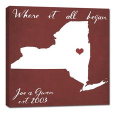 Great Valentines Day Gift - Map canvas where it all began.