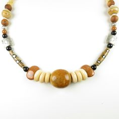 Orange, black and white moukite necklace by RedVioletDesign on Etsy