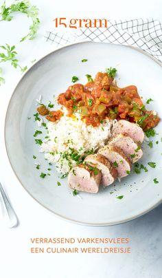 Varkensvlees is bijzonder geliefd en smaakvol vlees waar je erg veel kanten mee uit kan. Denk maar aan spek, charcuterie, ribbetjes, bloedworst of gehakt. Het heeft de reputatie van redelijk vet vlees te zijn maar dat is volledig afhankelijk van het stuk. Varkenshaasje of mignonettes zijn bijvoorbeeld wel magere stukken die perfect in een gezond dieet passen. We laten ons inspireren door recepten van over de hele wereld en van bij ons met varkensvlees in de hoofdrol. Kitchen Queen, Goulash, Easy Cooking, Tuna, Risotto, Yummy Food, Delicious Recipes, Food And Drink, Fish