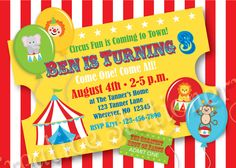 Circus Party Invitations Printable  Circus Dereck