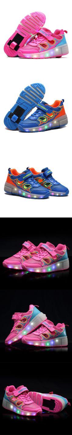 EU Size 28-40 New 2016 Child Heelys Girls Boys LED Light Heelys Roller Skate Shoes For Children Kids Sneakers With Single Wheels
