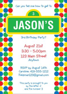 Free Sesame Street Invitation Template Maddies First Bday