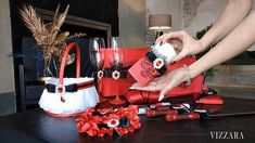 Pillow Wedding Cakes, Ring Pillow Wedding, Wedding Cake Server, Wedding Boxes, Red Wedding Dresses, Red And Teal, Wedding Glasses, Flower Girl Basket, Time 7