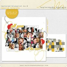 Digital Scrapbook Page Templates, Taylored Blueprint NO. 8 by Taylormade Designs