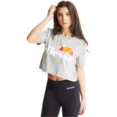 Ellesse Cortina Crop T-Shirt (£18) ❤ liked on Polyvore featuring tops, t-shirts, grey, retro t shirts, cotton logo t shirts, vintage crop top, retro tees and cotton tee