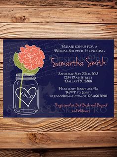 Bridal Shower Invitation Rose Mason Jar Blue by StellarDesignsPro, $21.00