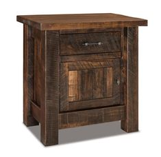 Amish Rustic Houston Large Nightstand with One Drawer and One Door Thick and rich rustic brown maple wood defines this nightstand. One drawer and one cabinet for storage. Choice of finish, hardware and custom features like a pull out water tray and touch nightlight. #nightstands